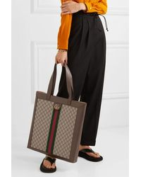 Gucci Ophidia Gg Leather-trimmed Printed Coated-canvas Tote - Multicolour