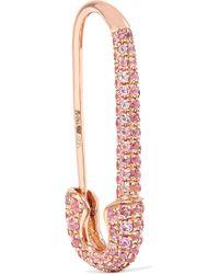 Anita Ko - Safety Pin 18-karat Rose Gold Sapphire Earring - Lyst