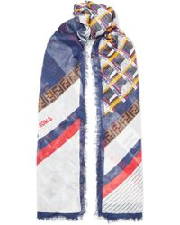 Fendi - Frayed Printed Modal And Silk-blend Scarf - Lyst