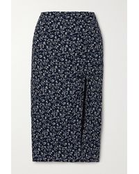 Reformation + Net Sustain Prose Floral-print Crepe Midi Skirt - Blue