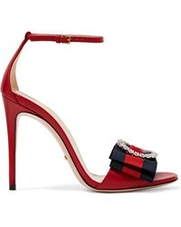 04cc7588d0f Gucci - Embellished Grosgrain-trimmed Leather Sandals - Lyst