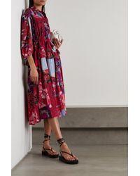 Preen By Thornton Bregazzi Dorchen Kleid Aus Recyceltem Crêpe De Chine Mit Blumenprint In Patchwork-optik - Rot