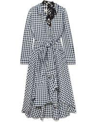 Maje - Wrap-effect Floral-print Crepe-trimmed Gingham Seersucker Dress - Lyst