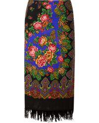 Vetements - Scarf Wrap-effect Fringed Printed Wool Midi Skirt - Lyst