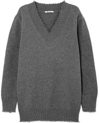 T By Alexander Wang - Distressed Cotton-blend Jumper - Lyst