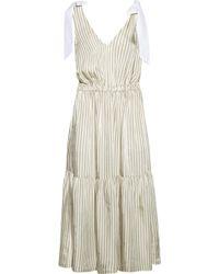Sea - Poplin-trimmed Striped Voile Midi Dress - Lyst