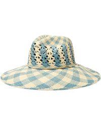 Sensi Studio - Rose Cutout Checked Toquilla Straw Panama Hat - Lyst