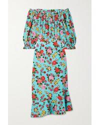 Saloni Robe Midi Épaules Nues En Crêpe De Chine De Soie À Imprimé Fleuri Grace - Bleu