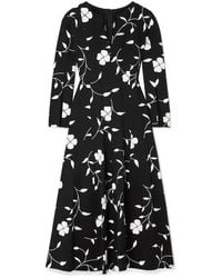 Oscar de la Renta Pleated Floral Wool-blend Midi Dress - Black