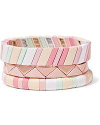 Roxanne Assoulin Set De Trois Bracelets En Émail Bahamas - Rose