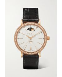 IWC Schaffhausen Portofino Automatic Moon Phase 37mm 18-karat Gold, Alligator And Diamond Watch - Metallic