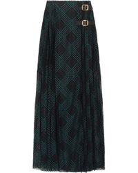 Philosophy Di Lorenzo Serafini - Leather-trimmed Pleated Lace Wrap Maxi Skirt - Lyst
