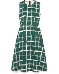 Marni - Printed Cotton And Flax-blend Midi Dress - Lyst