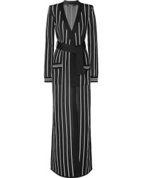 Balmain - Belted Striped Stretch-knit Cardigan - Lyst