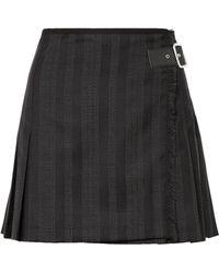 McQ - Wrap-effect Striped Wool-blend Jacquard Mini Skirt - Lyst