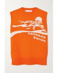 Christopher Esber Lambada Sandas Open-back Intarsia Wool And Cashmere-blend Tank - Orange