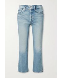 Mother The Tripper Cropped High-rise Flared Jeans - Blue