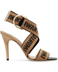 Jimmy Choo - Bailey 100 Canvas And Leather Sandals - Lyst