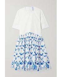 Rosie Assoulin Scalloped Printed Cotton-poplin Dress - White