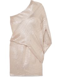Halston - One-shoulder Metallic Jacquard Mini Dress - Lyst