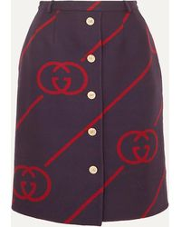 Gucci - Wool And Silk-blend Jacquard Skirt - Lyst