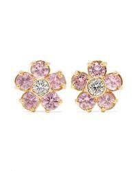 Jennifer Meyer Flower 18-karat Gold, Sapphire And Diamond Earrings - Metallic