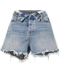 Alexander Wang Bite Flip Fold-over Frayed Denim Shorts - Blue