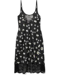 Paco Rabanne - Lace-trimmed Floral-print Satin Midi Dress - Lyst