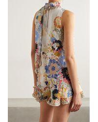 Camilla Tie-neck Crystal-embellished Floral-print Silk Crepe De Chine Playsuit - White