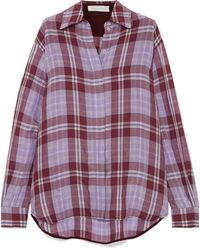 Victoria Beckham - Oversized Checked Crinkled-taffeta Shirt - Lyst