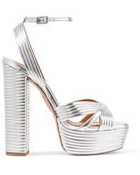Aquazzura Sundance 150 Metallic Faux Leather Platform Sandals