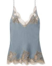 Carine Gilson - Chantilly Lace-trimmed Silk-satin Camisole - Lyst