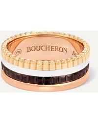 Boucheron Quatre Classique Small 18-karat Yellow, White And Rose Gold And Pvd Ring - Metallic