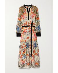 Saloni Robe Midi En Crêpe De Chine De Soie À Imprimé Fleuri Et À Ceinture Bobbi - Multicolore