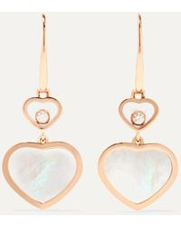 Chopard Happy Hearts 18-karat Rose Gold, Diamond And Mother-of-pearl Earrings - Multicolour