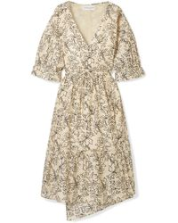 Apiece Apart - Anichka Wrap-effect Floral-print Cotton And Silk-blend Voile Midi Dress - Lyst