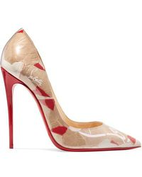 Christian Louboutin So Kate 120 Logo-print Pvc Pumps - Natural