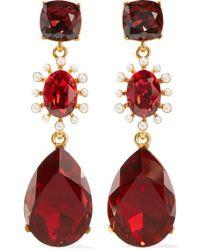 Oscar de la Renta Gold-tone, Crystal And Faux Pearl Clip Earrings - Red