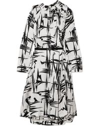 Balenciaga - Gathered Printed Silk-jacquard Midi Dress - Lyst