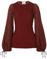 ROKSANDA - Saida Tulle-paneled Stretch-jersey And Ribbed-knit Top - Lyst