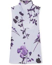 Dries Van Noten Chiara Floral-print Crepe Top - Purple