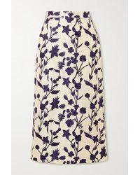 Brock Collection Floral-embroidered Shantung Midi Skirt - Multicolour