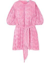 Ganni Belted Plissé-satin Mini Dress - Pink