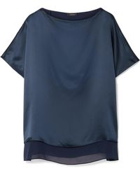 Akris - Silk-satin And Georgette Blouse - Lyst