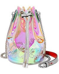 Christian Louboutin Marie Jane Spiked Iridescent Pvc And Glittered-leather Bucket Bag - Pink