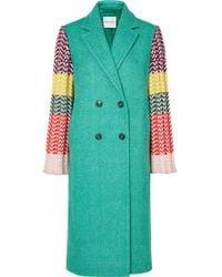 Mira Mikati - Appliquéd Wool-blend And Ribbed Crochet-knit Coat - Lyst