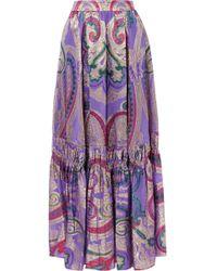 Etro - Tiered Metallic Silk-blend Jacquard Maxi Skirt - Lyst