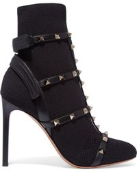 Valentino | The Rockstud Leather-trimmed Stretch-knit Sock Boots | Lyst