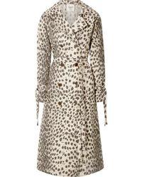 Sea Leopard-print Cotton-canvas Trench Coat - Natural