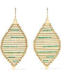 Ileana Makri - Grass Seed 18-karat Gold Emerald Earrings - Lyst